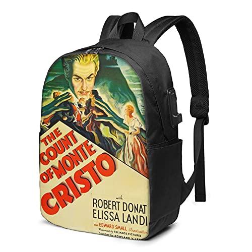 Der GRAF von Monte Cristo 1934 Laptop Reiserucksack mit USB-Ladeanschluss, geeignet für 17-Zoll-Laptops für Männer und Frauen