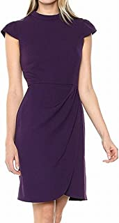 Lark & Ro Womens Dress Purple US Size 14 Shift Cap Sleeve Ruched Side