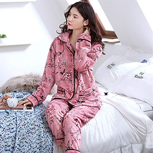 Weiche Damen Pyjamas, Dicke Bademäntel aus Korallenvlies, warme Hauskleidung für Herbst und Winter Größen A17 M