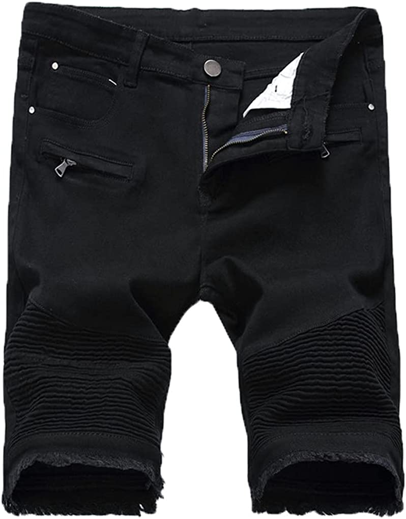 Mens Ripped Short Jeans Hollow Out Bermuda Summer Distressed Hole Shorts Cowboys Knee Length Denim Shorts