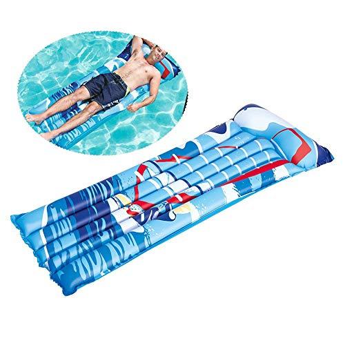 Alfombrilla de Agua Flotante Inflable, Flotador de Piscina Natación Flotadores inflables Piscina de Isla Flotante Lago Océano Barco Hamaca Salón para Playa Fiesta de Piscina Verano