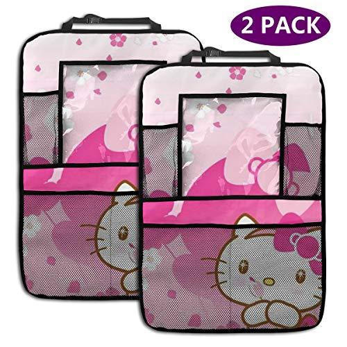 TBLHM Hello Kitty Lot de 2 Sacs de Rangement pour siège arrière de Voiture Motif Fleurs
