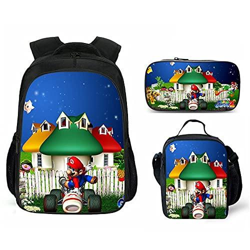 Mario - Mochila infantil de Super Mario, mochila escolar, bolsa para el almuerzo, estuche, 3 piezas, unisex, juego de mochila, Mario 7.,