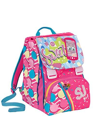 Zaino scuola sdoppiabile SJ GANG - GIRL - Rosa Azzurro - FLIP SYSTEM - 28 LT elementari e medie 3 pattine sfogliabili