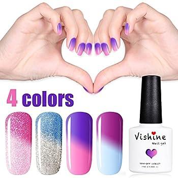 Vishine Gel Nail Polish Colors UV LED Soak Off Temperature Color Changing Nail Polish 4 Colors 10ML