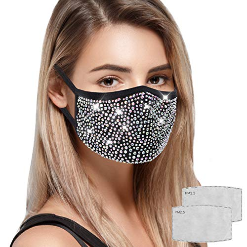 Missism Rhinestone Face Mask for Women, Black Reusable Washable Bling Mask with Pocket