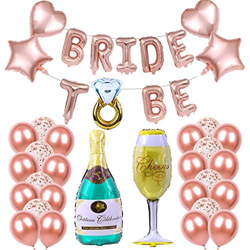 Conruich JGA Deco Palloncini Set Oro Rosa Palloncini Coriandoli Decorazione Addio Al Nubilato Palloncini Stagnola Vino Champagne Palloncini In Lattice Per Ragazze Festa Di Fidanzamento D'addio