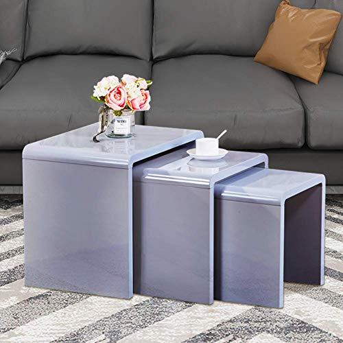 GOLDFAN Nest of 3 tables High Gloss Coffee Table Set Nesting Sofa Table Multi-functional End Side Table for Living Room, Grey