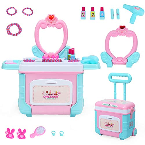 COSTWAY 2 in 1 Kinder Rollenspiel Spielzeug Schminkset mit Lichter, Soundeffekt und Stauraum, Mädchen Schminkkoffer & -Tisch höhenverstellbar, Kinder Kosmetikkoffer rollbar, inkl. Zubehör