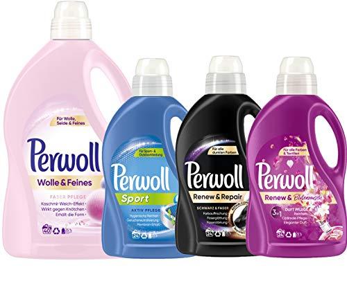 Perwoll Waschmittel Großpackung 4er Mix (1x Wolle, 1x Sport, 1x Schwarz, 1x Blütenrausch) 1x40 Waschladungen + 3x24 Waschladungen