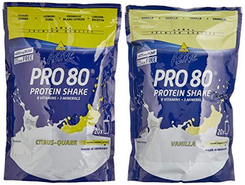 Inkospor Active Proteinshake Pro 80 Beutel 2er Mix Pack (2 x 500 g) Vanille/Citrus Quark, 1er Pack (1 x 1 kg)
