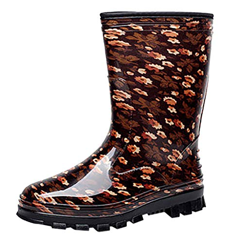 Women's Printed Tall Rain Boot Fashion Waterproof Rain and Garden Boot Comfort Casual Water Shoes (Black, US:7.5)