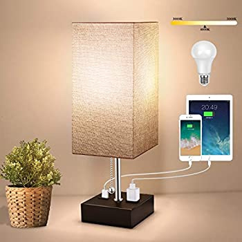 3-Color Temperature Bedside Lamp with USB Port and AC Outlet Table Lamps for Bedroom Lamps Nightstand Lamps with Grey Shade Black Metal Bed Lamp Small Desk Lamps for Living Room Office  Bulb Included