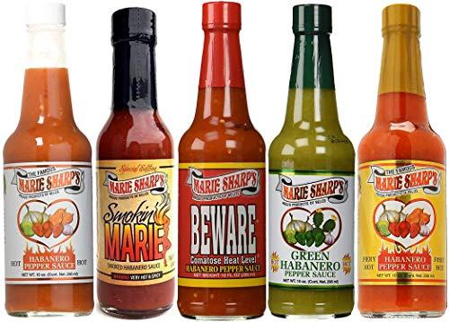 Marie Sharp's Hot Sauce 5 Pack Variety Gift Set - BIG 10 oz..