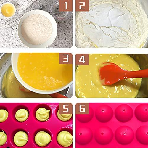 Molde Lollipop, ZoneYan Silicona Bandeja Piruletas, Cake Pops Molde, Moldes de Piruletas Silicona, Moldes de Caramelo Piruletas, Lollipop Hornear Molde, Molde Cake Pops, 20 Pop Cake Stick (Rosa)