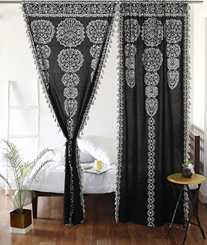 """Moroccan Medallion Floral Ombre Mandala Window Curtains Tapestry Indian Drape Balcony Room Decor Divider Sheer Wall Hanging with Pom Pom Lace (41"""" W x 87"""" L, Black-Silver-Lace)"""
