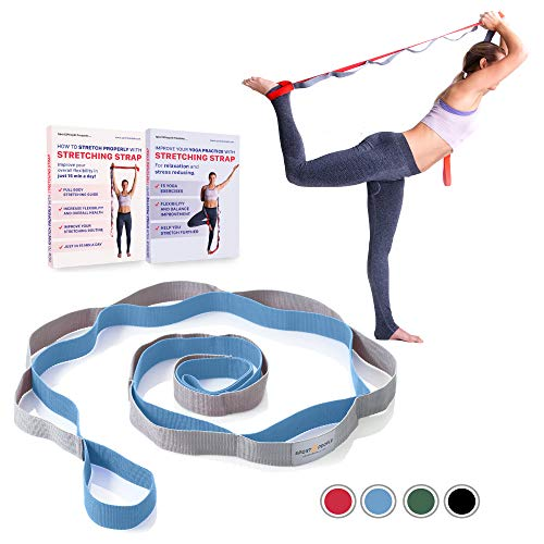 sport2people Extra Durable Stretching Strap for Yoga and Rehabilitation with 2 Free Ebooks - Multi - Loop Rehab Stretch Band to Improve Your Flexibility (Blue-Gray)