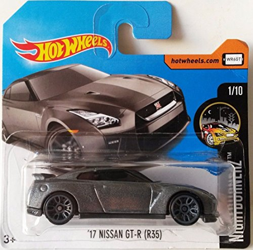 Hot Wheels 2017 Nightburnerz \'17 Nissan GT-R (R35) Metallic Grey 364/365 (Short Card)