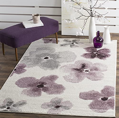 Safavieh Adirondack Collection ADR123L Floral Watercolor Non-Shedding Living Room Bedroom Dining Home Office Area Rug, 6' x 6' Square, Ivory / Purple