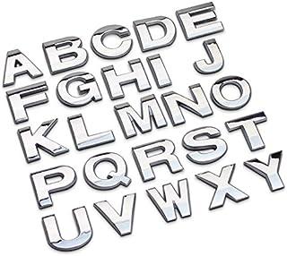 Bingohobby Pegatinas de metal cromadas de números y letras para el coche para que diseñes nombres