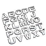 Bingohobby Pegatinas de metal cromadas de números y letras para el coche para que diseñes nombres, palabras o logotipos