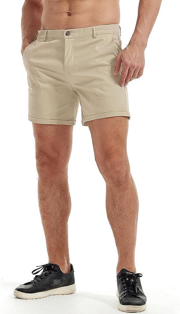 AIMPACT Mens Chino Shorts Slim-fit Flat Bargain 55% OFF Front 5.5