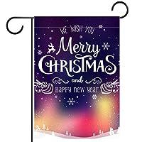 ウェルカムガーデンフラッグ(12x18inch)両面垂直ヤード屋外装飾,オーロラとクリスマスの冬の風景