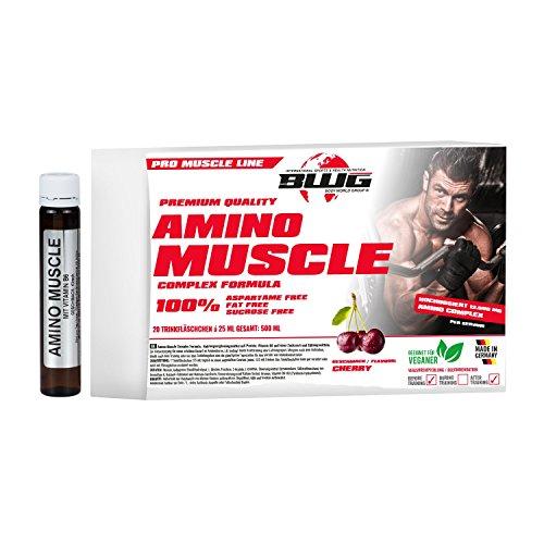 BWG Amino Muscle Complex Formula, Amino-Liquid Ampullen mit Vitamin B6 optimiert, Kirsche, Muscle Line, 20 x 25ml Ampullen, 1er Pack (1 x 500ml Faltschachtel)