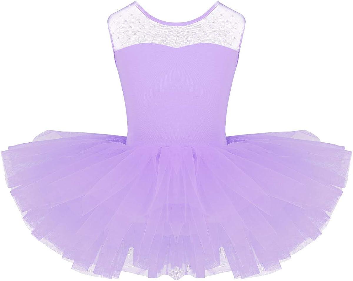 moily Little Girls Mesh Splice U-Shaped Back Ballet Dance Tutu Dress Gymnastics Skirted Leotards