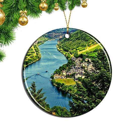Hqiyaols Ornament Deutschland Mosel Weihnachten Ornamente Hängende Verzierung Keramik Souvenir Stadt Reise Geschenk Baum Tür Fenster Decke Zierschmuck Deko