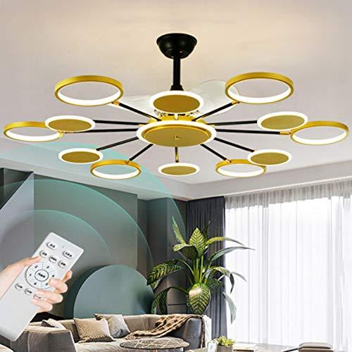 JAKROO Led Invisible Ventilador De Techo Luz, Ventilador De Techo Silencioso Ajustable, con Mando A Distancia, 3 Velocidades De Ventilador, Decoración De Dormitorio Ideal