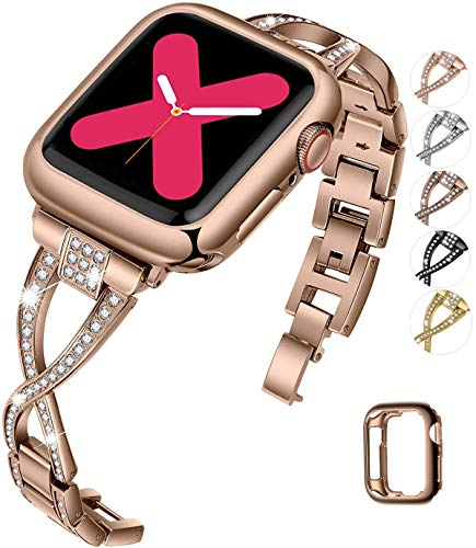 JFdragon Watch Bands Compatible with Apple Watch 38mm 40mm 42mm 44mm SE Series 6 5 4 3 2 1 Women Jewelry Metal Wristband Strap with Bling Diamond Replacement Bracelet (Bronze Gold,38mm/40mm)