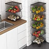 BENOSS Metal Wire Basket with Wheels and Cover, Stackable Rolling Fruit Basket Storage Organizer with Casters, Utility Rack for Kitchen, Pantry, Bathroom, Laundry Room, Garage (5 Layer Baskets)