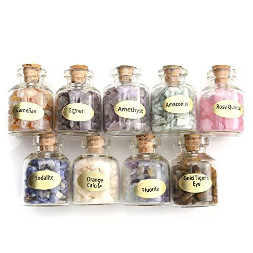 Jovivi, 9 Mini Cristalli E Pietre Preziose, Bottigliette In Vetro Naturale Di Quarzo Grezzo Grezzo, Kit Da Collezione Per Guarigione, Equilibrio, Meditazione, Chakra, Reiki, Wicca, Portafortuna