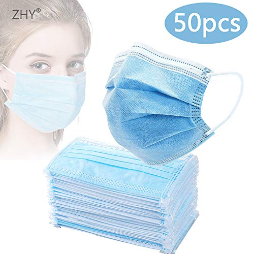 ZHY Anti-Spitting Protective Masks Dustproof Cover, Disposable 50 PCS Filter 3-ply Face Masks Personal Protection dust-Proof Anti Spittle No Eye Masks for Earloop,Prevent Saliva Safety Face Shields