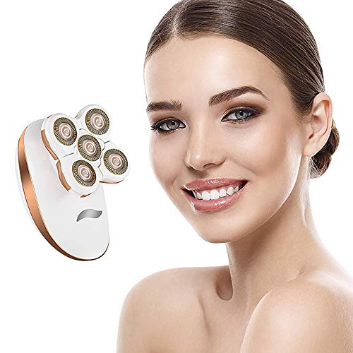 YEARN SEA Women's Hair Remover,Hair Removal Electric Shaver Rechargeable Trimmer Razor with 5 Floating Heads for Legs Arms Face Bikini-line,Newest Best Effect