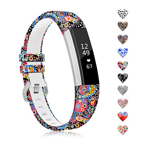 """ZEROFIRE Band Compatible with Fitbit Alta and Alta HR Replacement Wristband Adjustable Silicone Sports Watch Band for Men Women Colorful Printing Straps, Standard Size for 5.5""""-8.1"""" Wrists, No Tracker"""