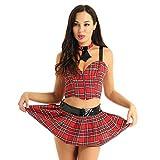 QJHDO Lenceria Sexy De Mujer para Sexovestido Y Corbata Juego De Disfraces De Cosplay Disfraz De Halloween-Red_L