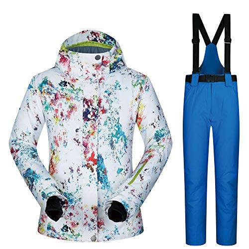 YIJIAHUI Dames Ski Jas Vrouwen Kleurrijke Print Hooded Sneeuw Jas Skiën Jas Verdikte Winddichte Winterpak