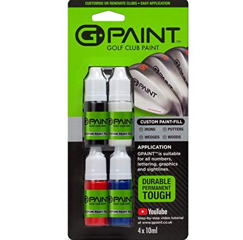 Golfschläger-Farbe, G-Paint 4er-Pack, enthält Schwarz, Weiß, Rot und Blau, zum Ausmalen von Buchstaben, Logos auf bestehende Golfschläger-Grafiken