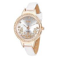 Barbie バービー エレガンススシリーズ ラインストーン付 梅の花彫り 太陽紋文字盤 本革 レディース腕時計 W50558L