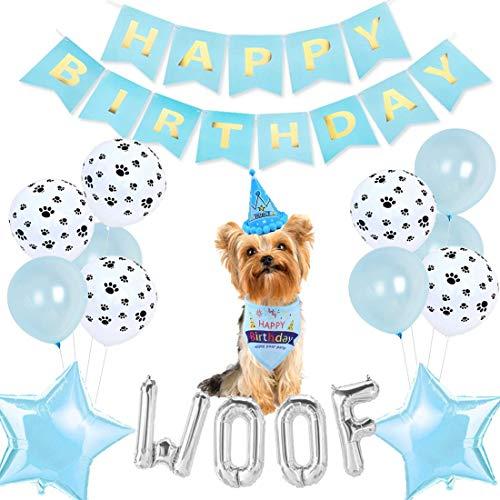 Perro azul decoraciones de cumpleaños for perro de perrito del cumpleaños del muchacho con el perro del sombrero del cumpleaños bufanda del triángulo del feliz cumpleaños de la bandera de plata Woof g