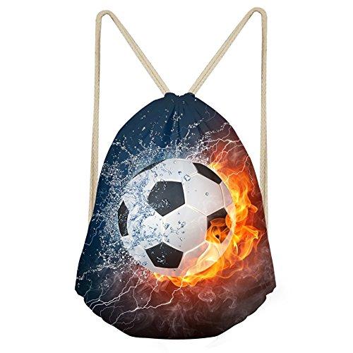 Woisttop Funny Water Fire Soccer Ball Gymsack Boy Sport Mochila de hombro con cordón