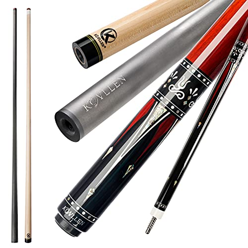 KL-01F Real Wood Inlay Pool Cue Stick with 2 Low Deflection Shafts (1 pc Carbon Fiber Shaft, 1 pc Carbon Tube Inside Wooden Shaft, 4 Pcs Carbon Tubes inside Butt, with Extension) (KL-01FR, 12.75mm)