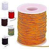 1mm Orange Bracelet String Elastic String Cord Thread for Bracelets, 100-Meter Durable Bead String for Jewelry Making, Stretchy String for Bracelets(Orange, 1mm)
