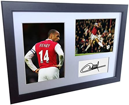 Signed Black Soccer Thierry Henry Arsenal Autographed Photo Photographed Picture Frame A4 12x8 product image