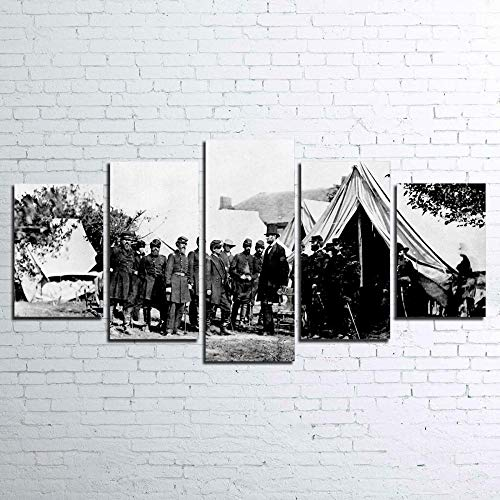 KOPASD Cuadros Modernos Impresión De Imagen Artística Digitalizada, Lienzo Decorativo para Tu Salón O Dormitorio, Guerra Civil Lincoln, 5 Piezas (150X80Cm)
