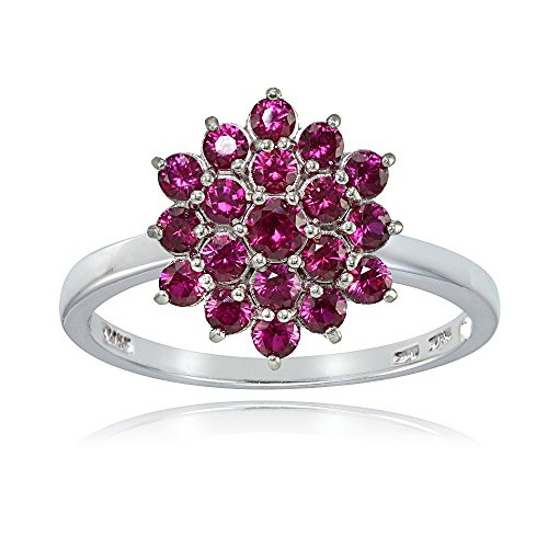 Ice Gems Sterling Silver Created Ruby Flower Ring, Size 7