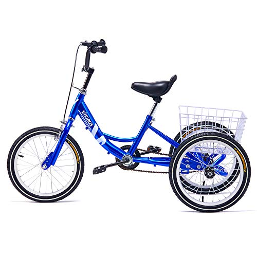 Viribus 14' Tricycle with Carbon Steel Frame Single-Speed Three Wheeled Kids Bike for 3' to 4' Children Stable 14er Trike with Large Bike Basket for Rides Chores Exercise, 110lb Capacity, Blue