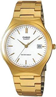 Casio Mens Stainless Steel Analog Watch Gold w/ White Dial Batons - MTP-1170N-7A